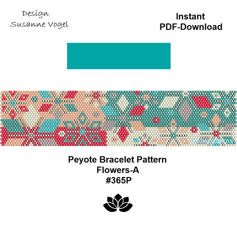 Design Patterns By Tutorials Pdf: peyote bracelet patternPDF-Download #365P Flowers-Abeading rh:pinterest.com,Design
