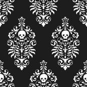 Skull Damask White on Black Fabric