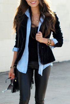 .Legging+ camisa jeans + jaqueta de veludo :)