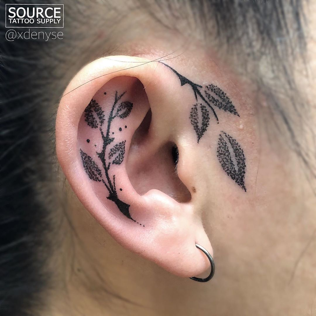 Denyse tattoos on instagram rose leaf ear done at the
