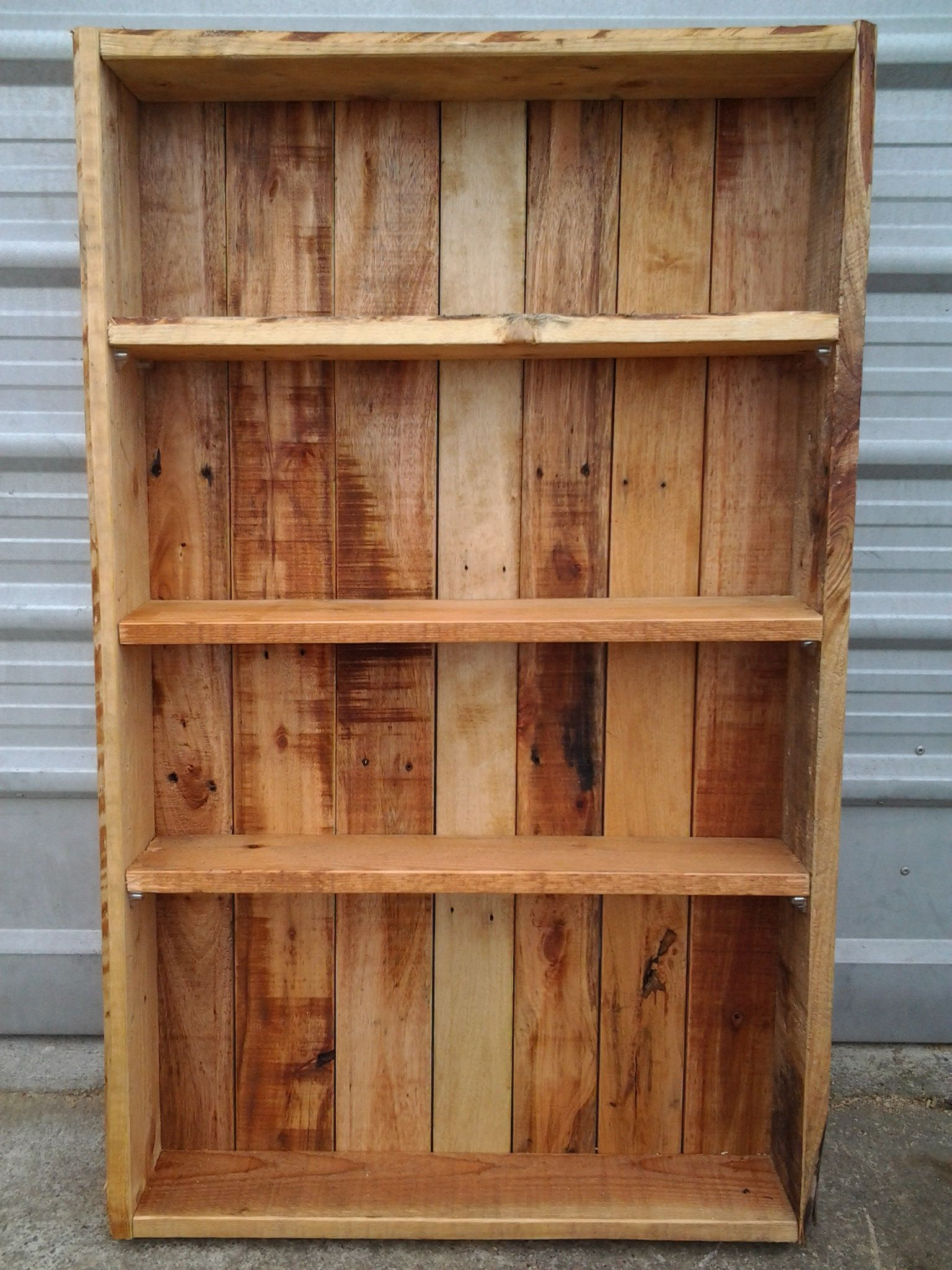 Garage Shelves Made From Pallet Wood Lightly Sanded And Oiled,