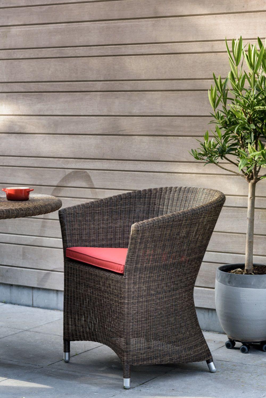 fauteuil de table pour l\'extérieur en résine fine façon lloyd loom ...
