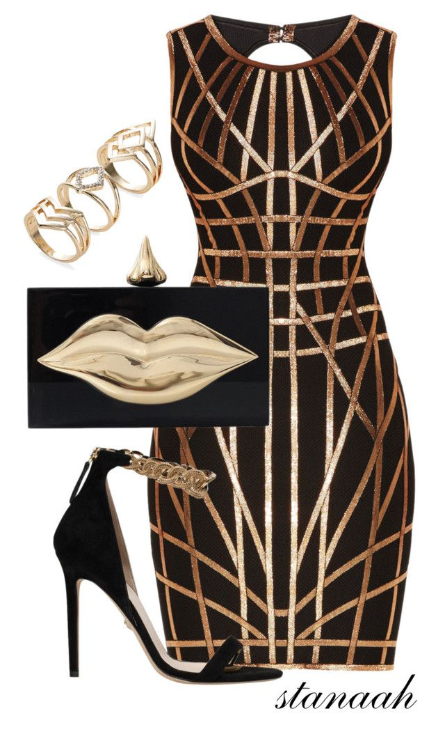 """""""gold lips"""" by s-arsenic ❤ liked on Polyvore featuring Hervé Léger, Charlotte Olympia and Versace"""