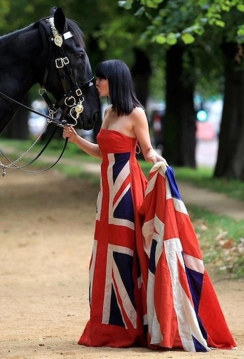 Woman wearing British Flag dress - the horse would be perfect with ...