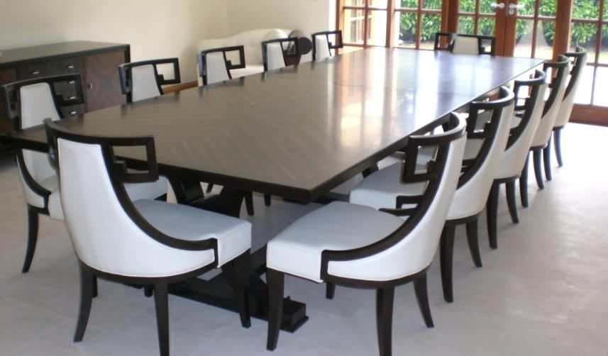 Dark Brown Wood Large Dining Room Table Seats 12 White And Brown Modern  Chairs