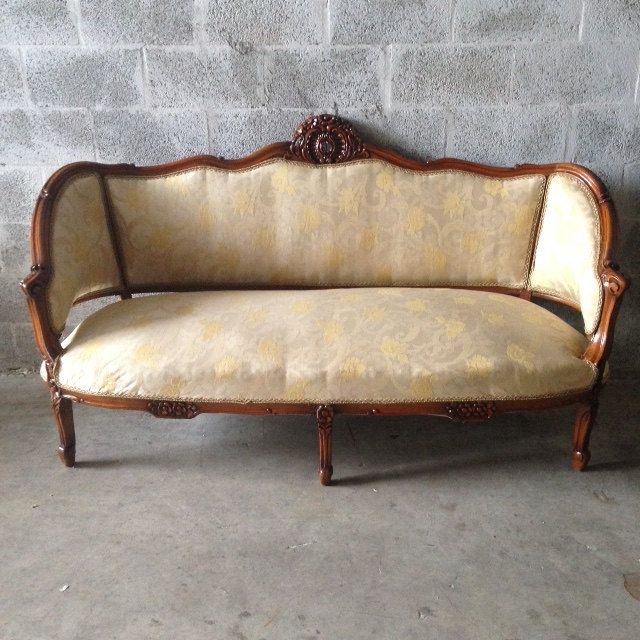 Antique French Louis Xvi Living Room Chairs Wingback Fauteuil Sofa Settee Couch Corbe Dark Brown Refinished