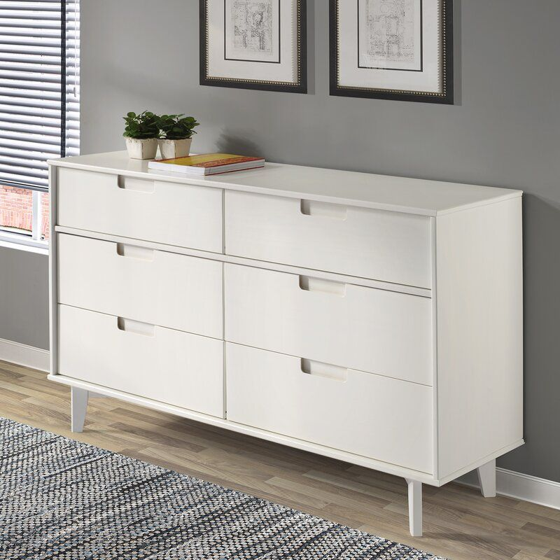 Hashtag Home Cecille Groove 6 Drawer Double Dresser Reviews Wayfair Ca In 2020 Wood Dresser Solid Wood Dresser 6 Drawer Dresser