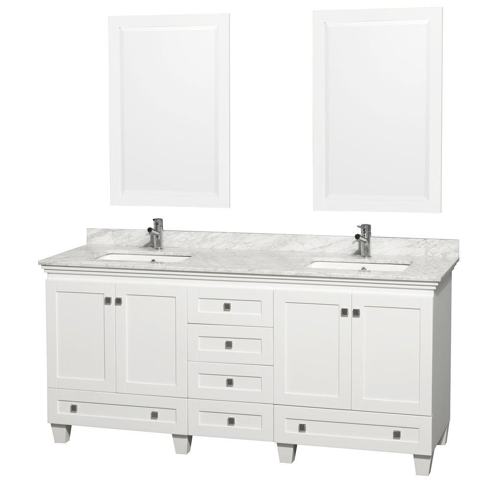 Wyndham Collection Berkeley 72 In Double Vanity In White With Marble Vanity Top In Carrara White Oval Sink Marble Vanity Tops Bathroom Vanity Bathroom Design