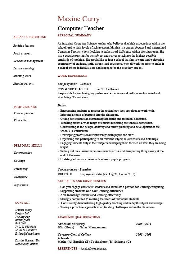 Computer teacher resume, example, sample, IT, teaching skills