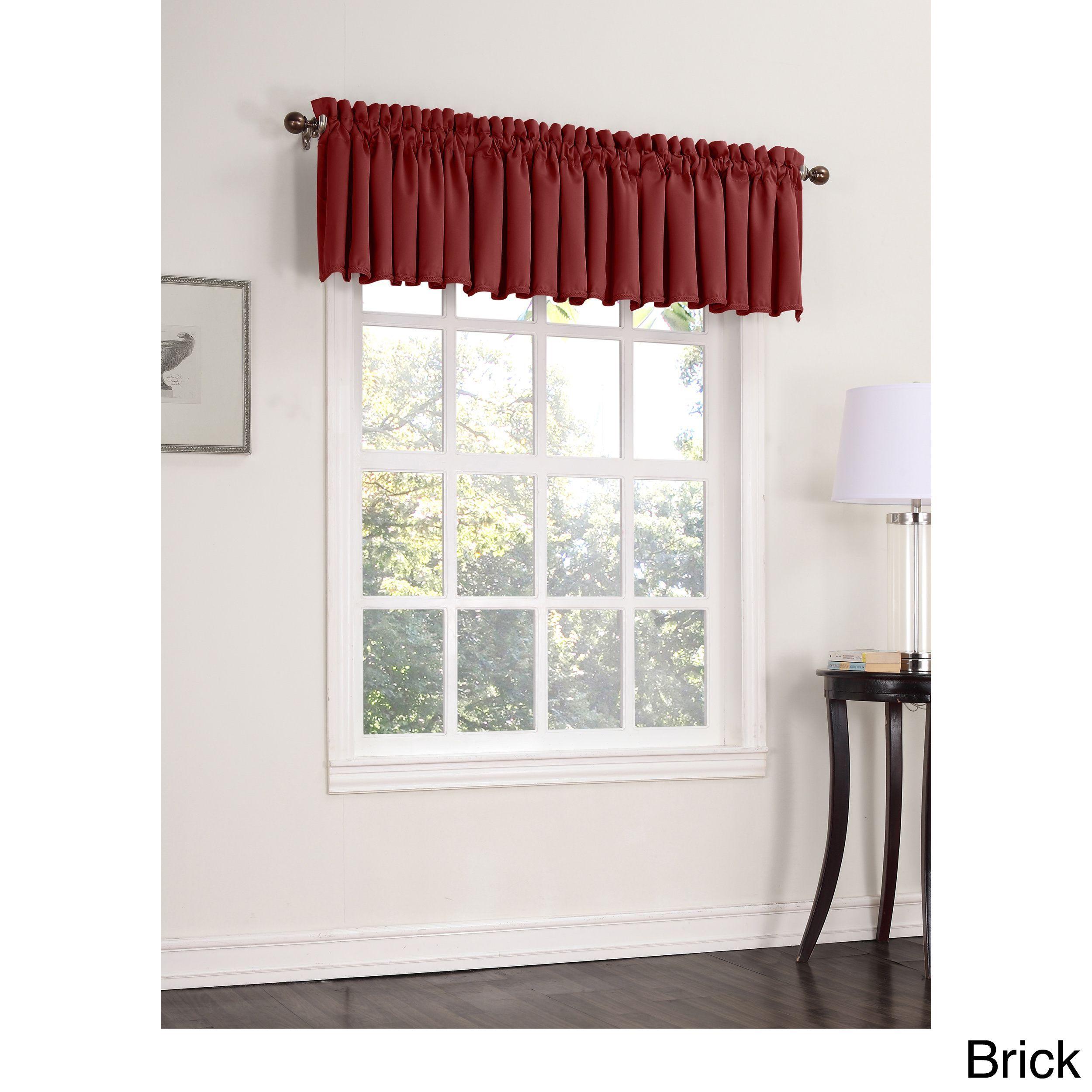 Sun Zero Galia Room Darkening Window Valance (Brick 18-inches), Red (All Polyester, Solid)