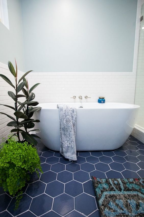 Floor And Decor Subway Tile Custom Blue Hexagon Tiles And Greenery Make Up The Whole Bathroom Decor Inspiration Design