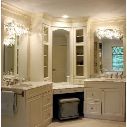 Separate sinks with vanity in the middle, so cute. Home