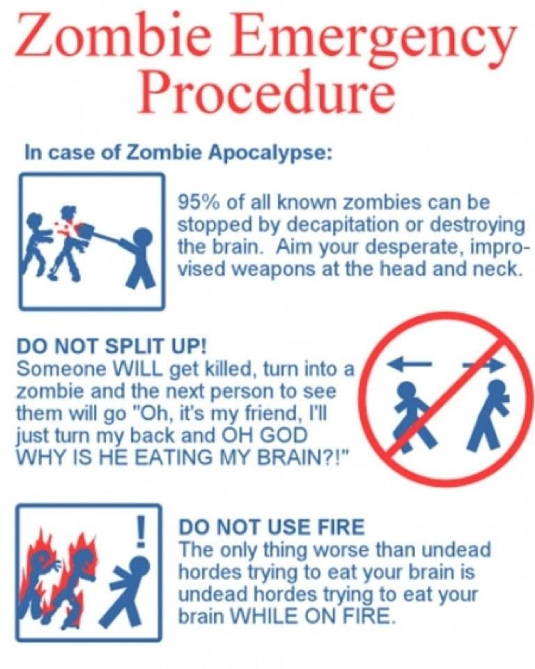 Zombie Emergency Procedure Survival Guide Pinterest - emergency action plans