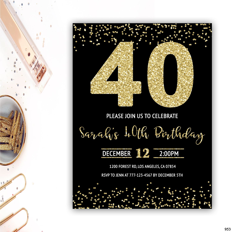 40th Birthday Invitation 40th Birthday Party Invite Gold Glitter Birth Glitter Invitations Birthday 40th Birthday Party Invites 30th Birthday Party Invitations