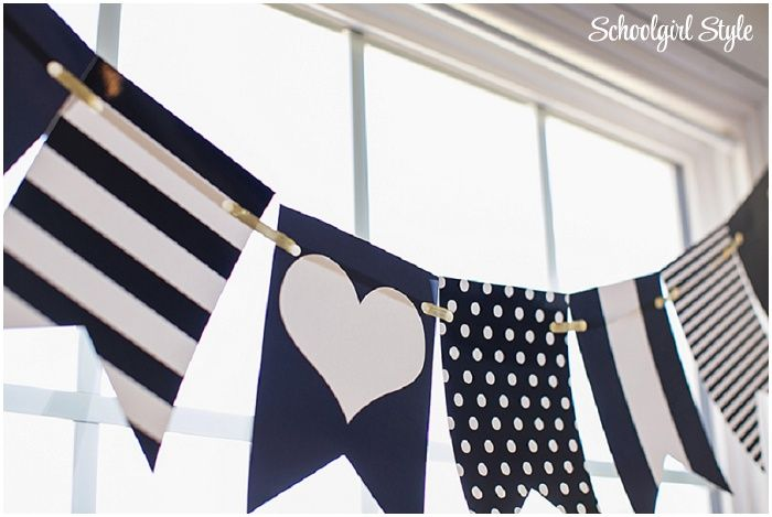 I HEART SCHOOL by Schoolgirl Style www.schoolgirlstyle.com black white gold stripes polka dots classroom school theme decor decorations