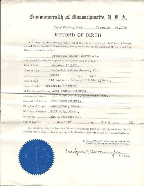 Genea-Musings: Treasure Chest Thursday - Post 177: Birth Certificate ...