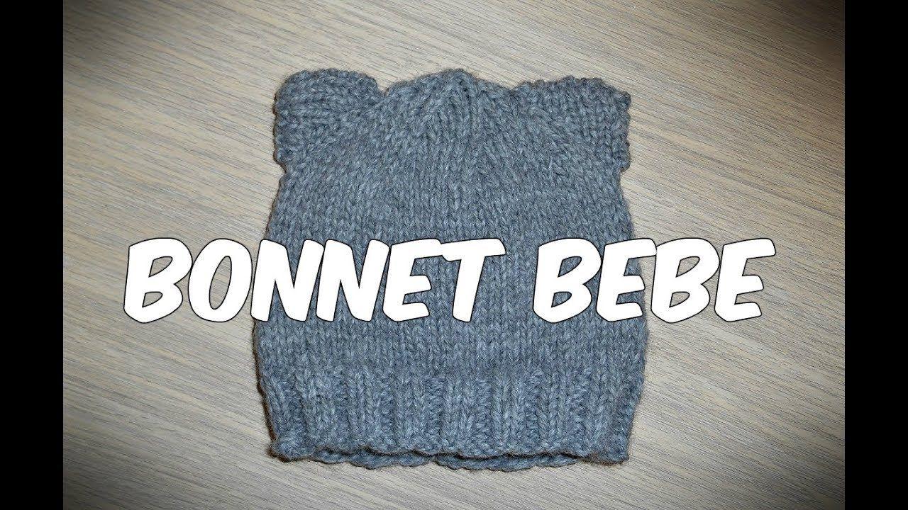 Tuto   Tricoter un bonnet bebe naissance facilement aux oreilles de chat -  YouTube a41ced2bb60