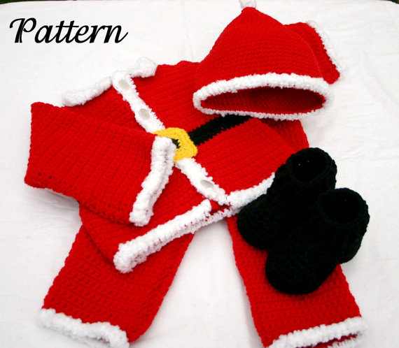 Baby Santa suit PDF crochet Pattern 6-9 month size boy infant Christmas  costume photography prop winter december festive holiday - Baby Santa Suit PDF Crochet PATTERN 6-9 Month Size Boy Infant