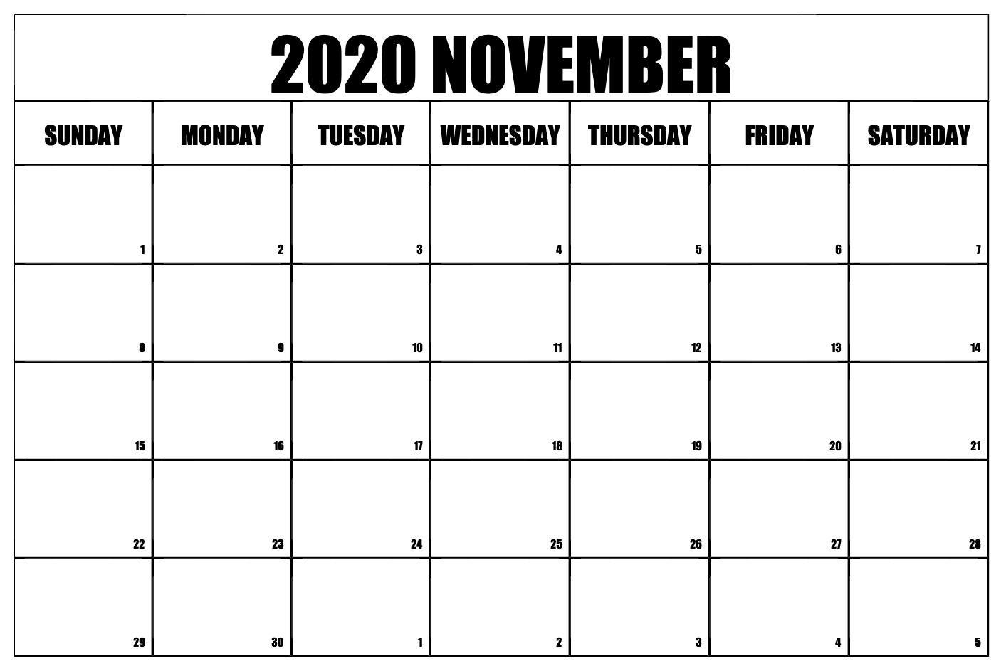 Free Printable November 2020 Calendar Calendar Printables 2020