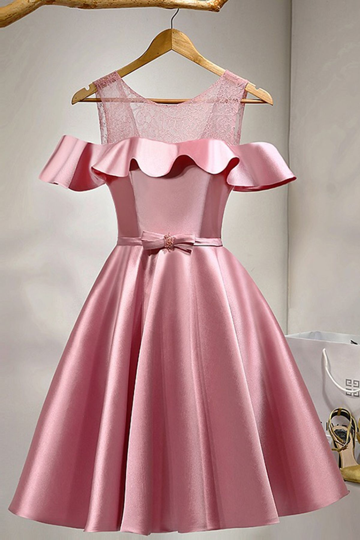 Unique pink satin short off shoulder bowknot prom dress dresses