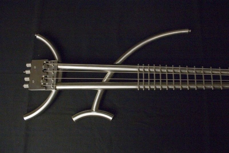 a bass made out of metal tubes so cool and the fretboard it only made of fret wire music. Black Bedroom Furniture Sets. Home Design Ideas