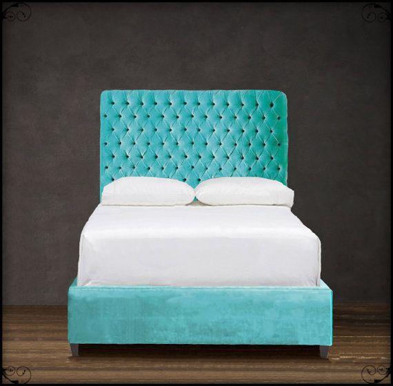 Custom Upholstered Headboard W Diamond Tufting Shown In Turquoise