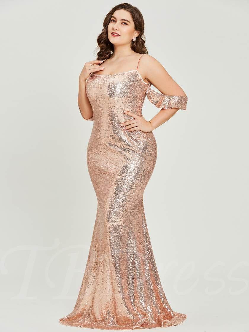 cf25446748273 Spaghetti Straps Sequins A Line Plus Size Prom Dress - Tbdress.com