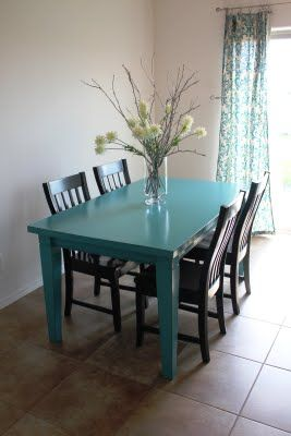 Super Cute Blue Table Black Chairs For Kitchen Painted Kitchen