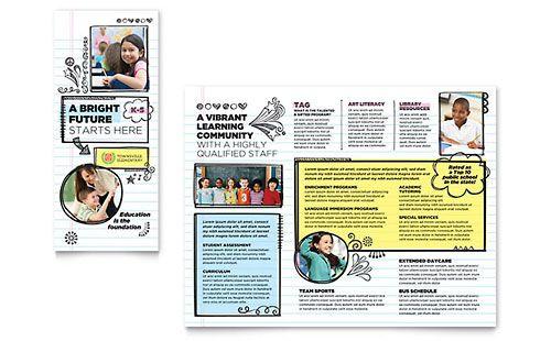 Elementary School Brochure Template Bella Babysitting Business