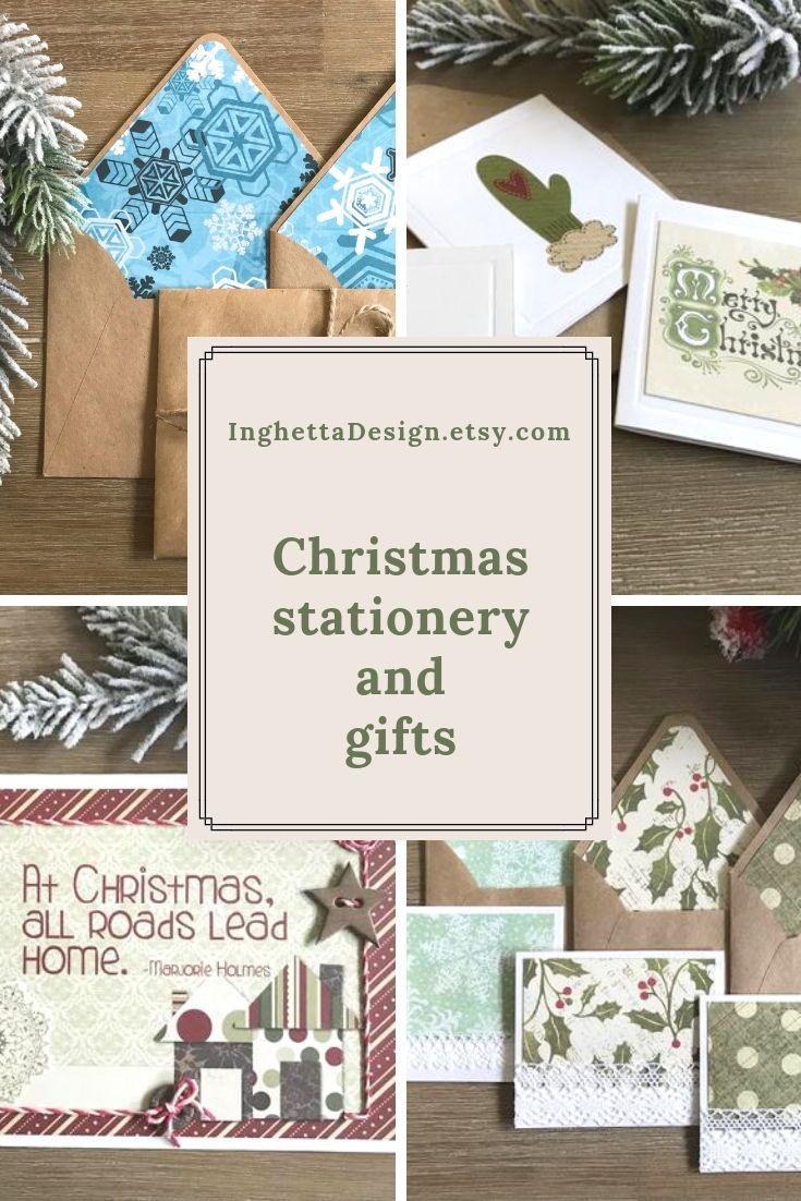 Christmas Letter Writing Set, Lined winter envelopes