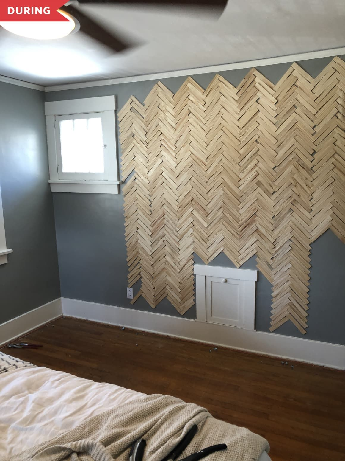Before And After This 100 Bedroom Accent Wall Uses An Unexpected Building Material In 2020 Accent Wall Bedroom Gray Accent Wall Bedroom Bedroom Accent