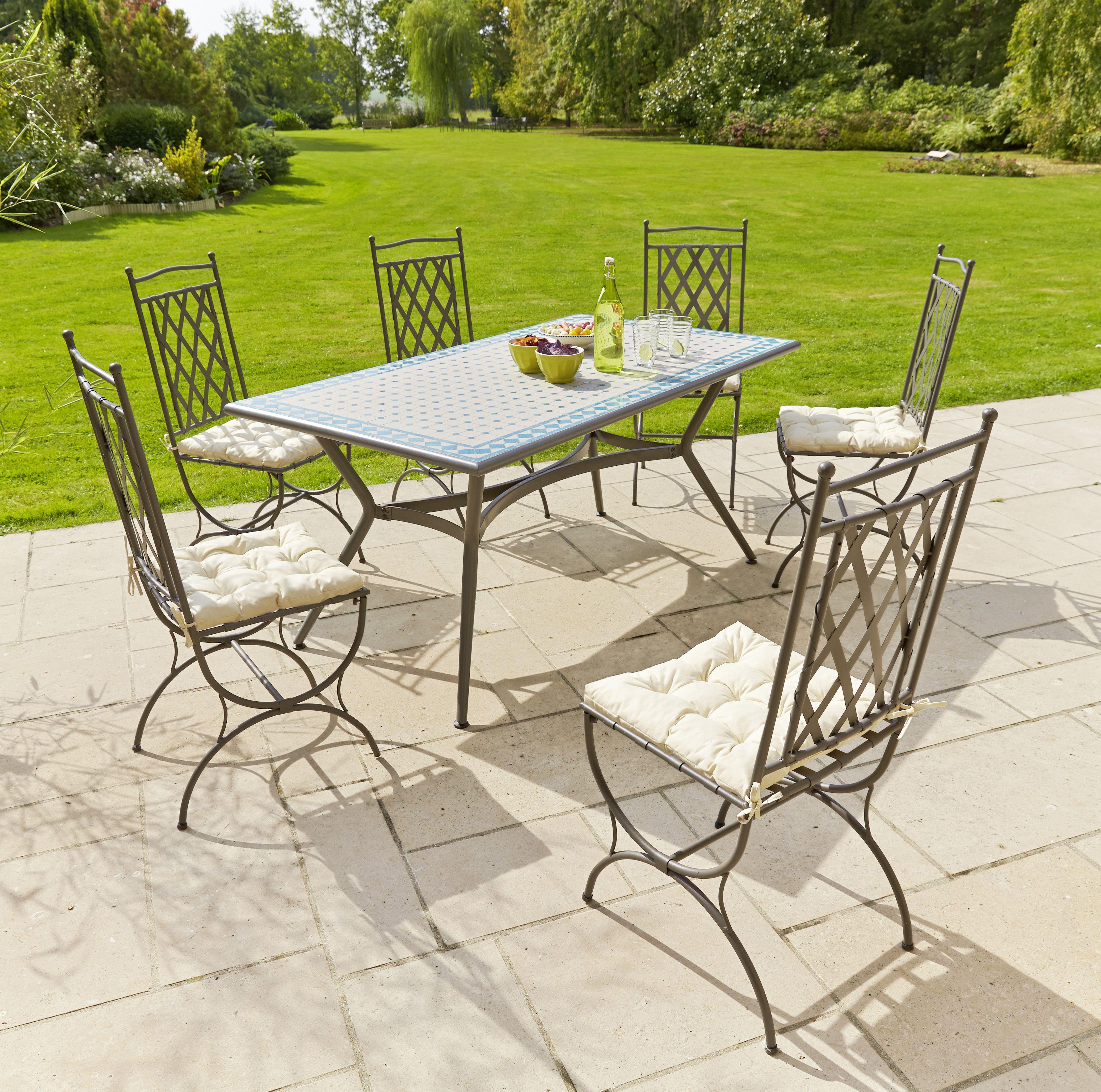 Table mosa que structure acier galvanis plateau for Table exterieur galvanise