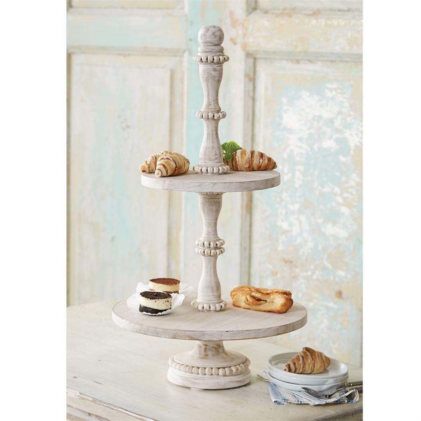 Beaded White Wood Tiered Server Trays In 2019 Wood Tiered Stand Tiered Server Tiered Stand