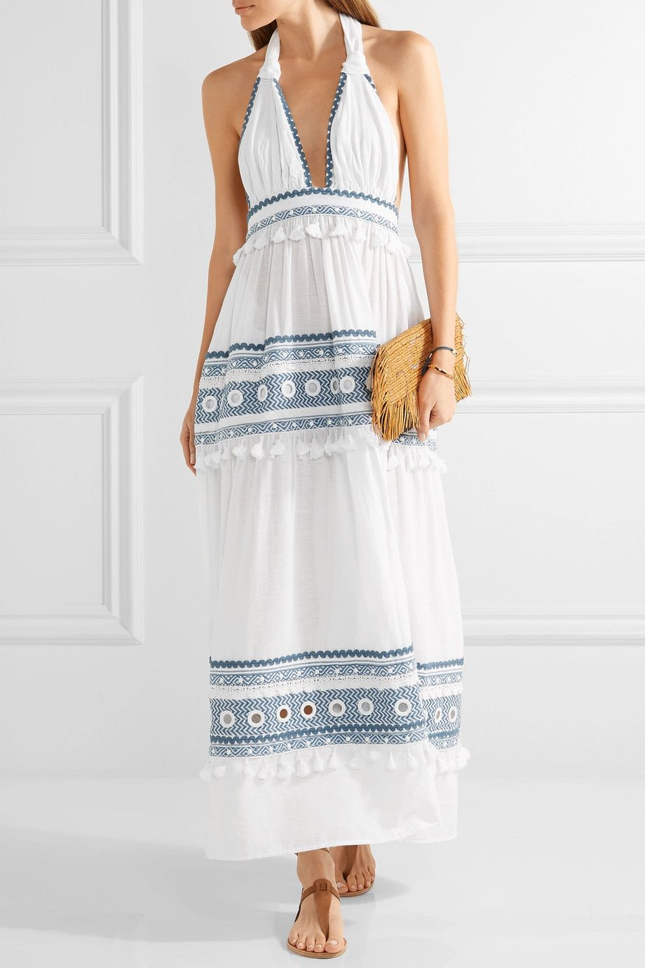 Dodo bar or embellished embroidered cottongauze halterneck maxi