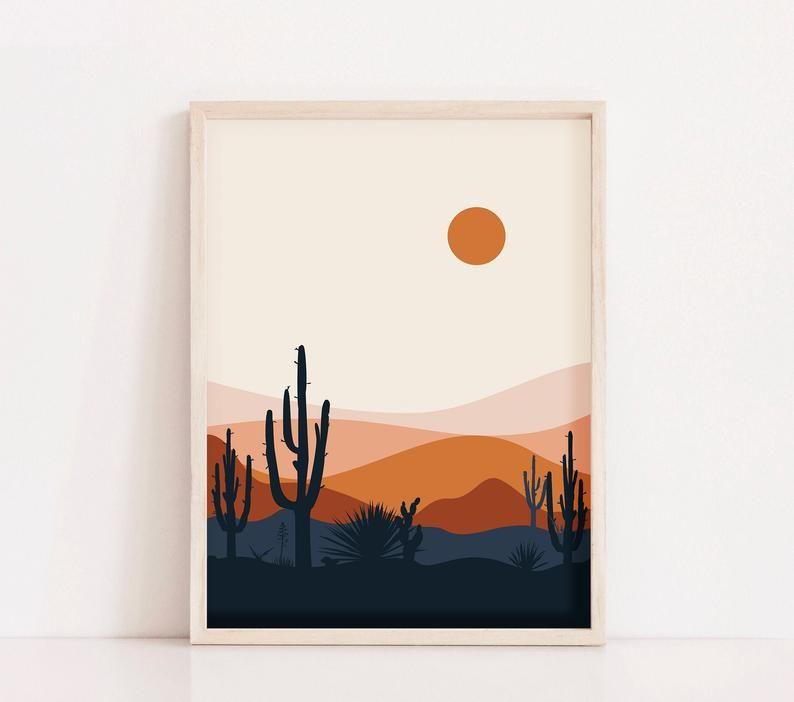 Mid Century Modern Desert Print Cactus Print Southwestern Etsy Easy Canvas Art Desert Art Small Canvas Art