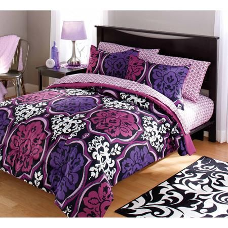 your zone dotted damask bedding comforter set, purple from