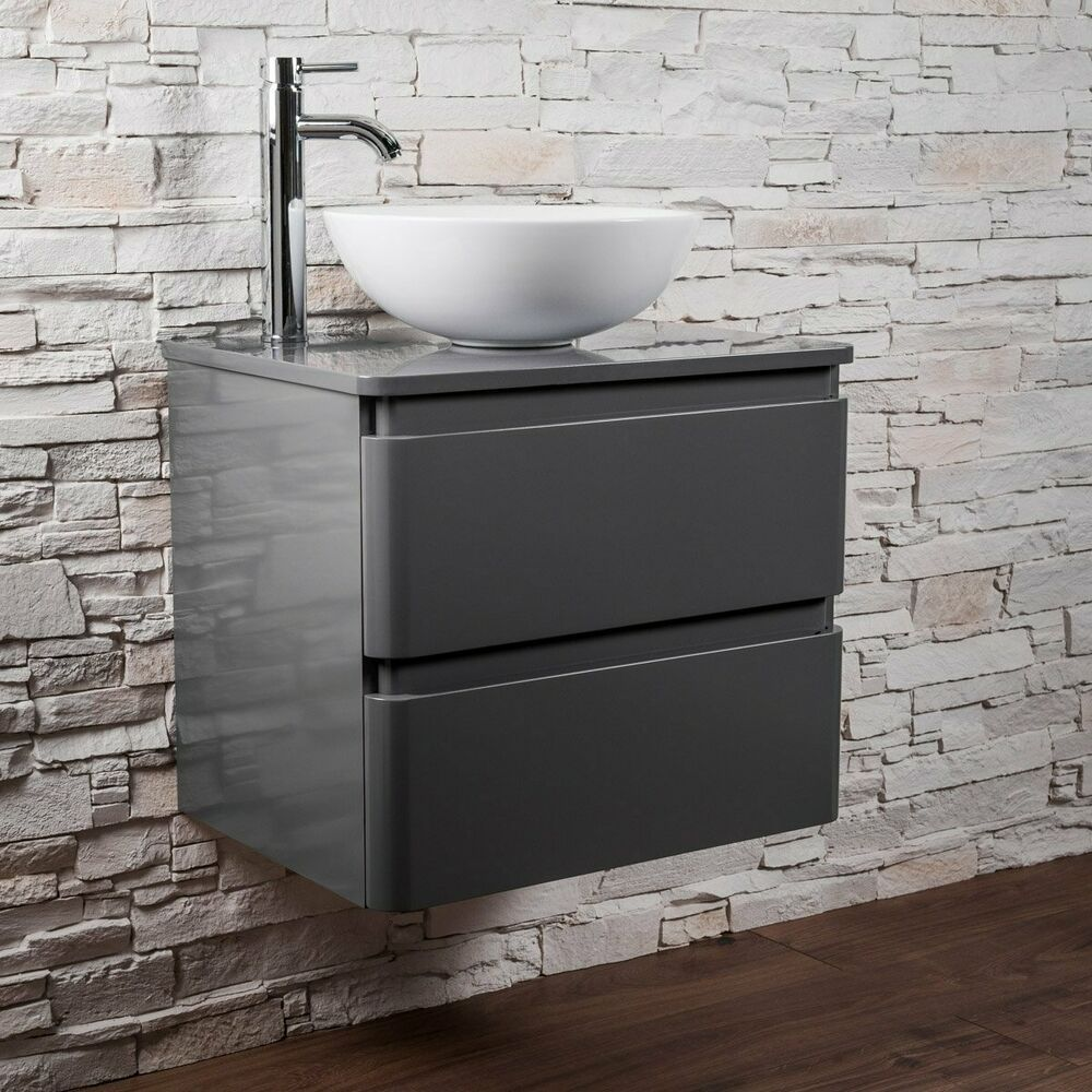 Designer Bathroom Gloss Grey Wall Hung Vanity Unit White Countertop Basin Sink 5055653275973 Ebay Wall Hung Vanity Countertop Basin Vanity Units