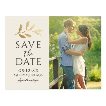 Wedding Photo Save the Date | Gold Branch Postcard - personalize ...