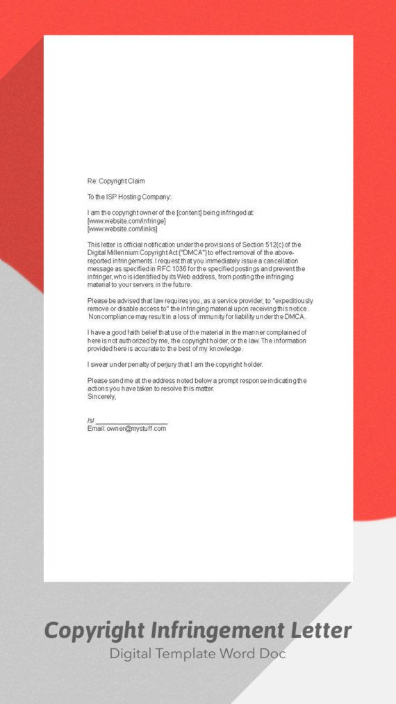Copyright Infringement Letter Copyright Take By Digitalpublishing