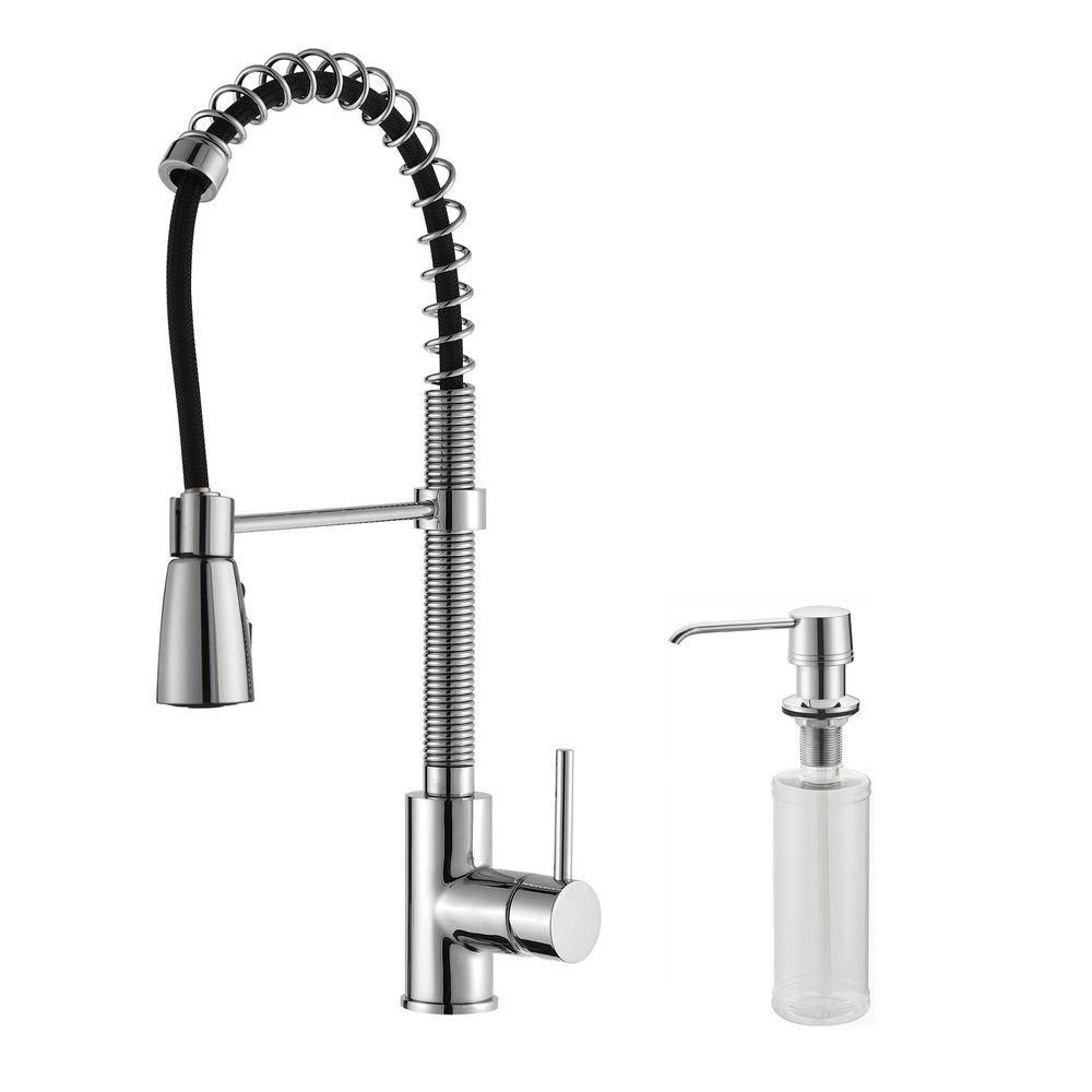 kraus commercial style single handle pull down kitchen faucet with