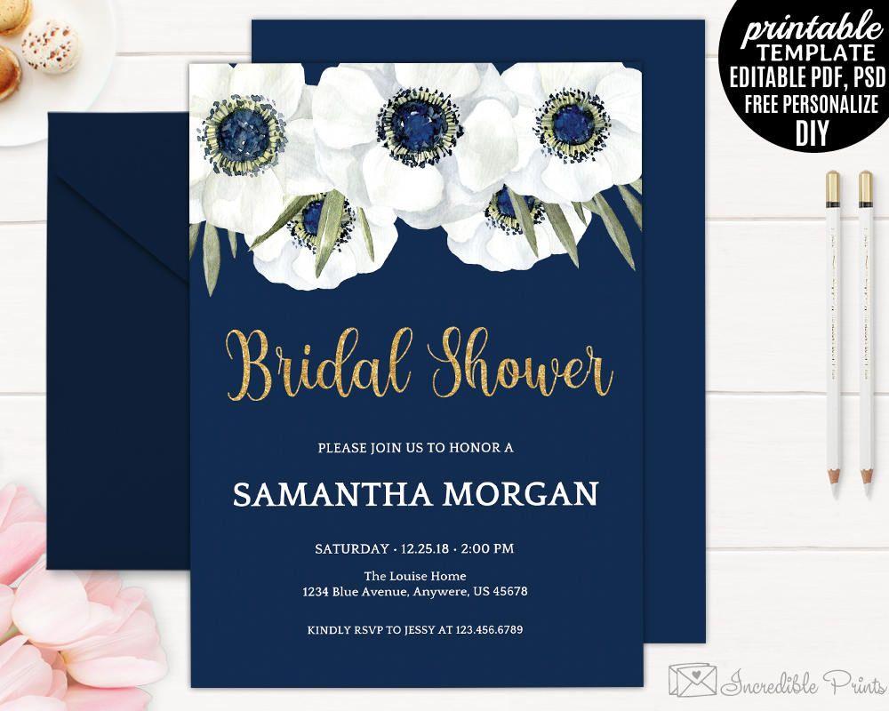 Navy Bridal Shower Invitation Template Floral Bridal Shower