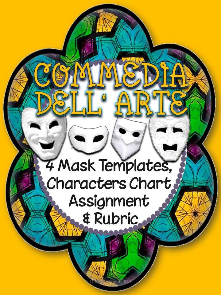 Commedia dellarte mask templates character chart