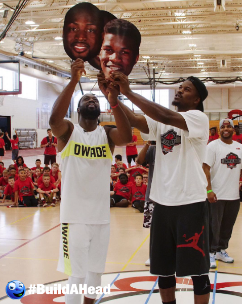 Dwyane Wade And Jimmy Butler Loving Their Big Head Cutouts Big Head Cutouts Build A Head Big Face