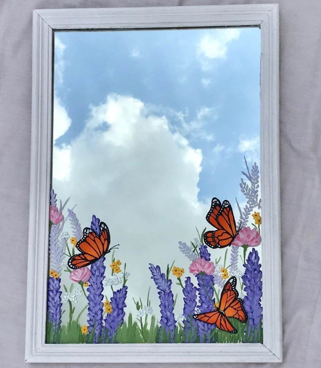 Pin On Painted Mirrors Painted Mirror Art Small Canvas Art Mirror Painting
