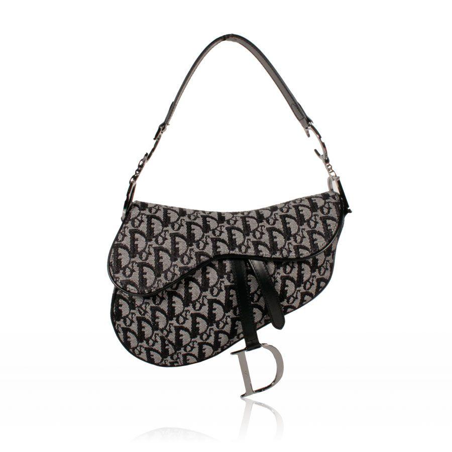 Christian Dior Logo Handbag Saddle Bag Black   Gray (CD1562)  0f660b42a1711