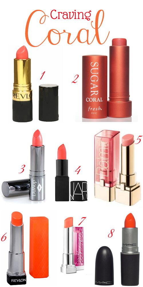 guide to coral lipstick in love with corals right now products i love maquillage beaut. Black Bedroom Furniture Sets. Home Design Ideas