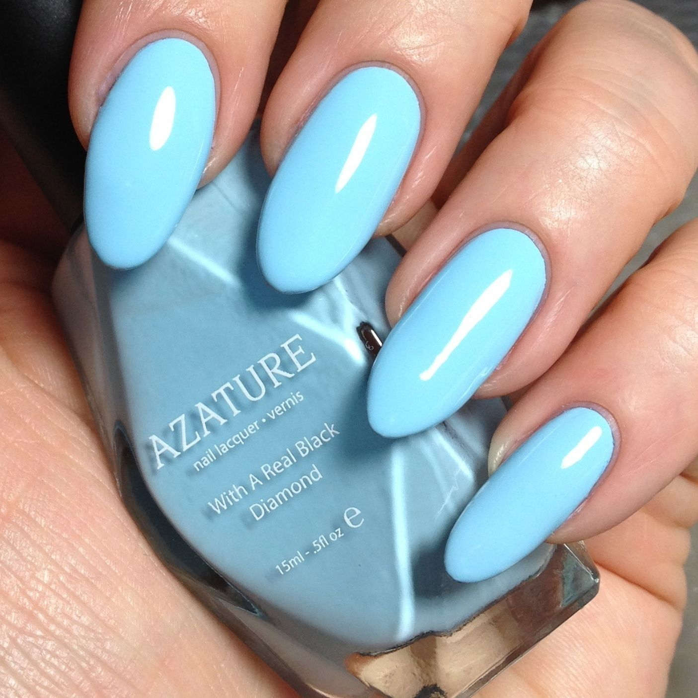 Azature black diamond nail polish in Light Blue Diamond. The entire ...