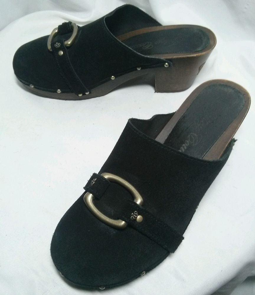 JUICY COUTURE women's size 9.5 black suede clogs made in Italy #JuicyCouture #PlatformsWedges #Clogs