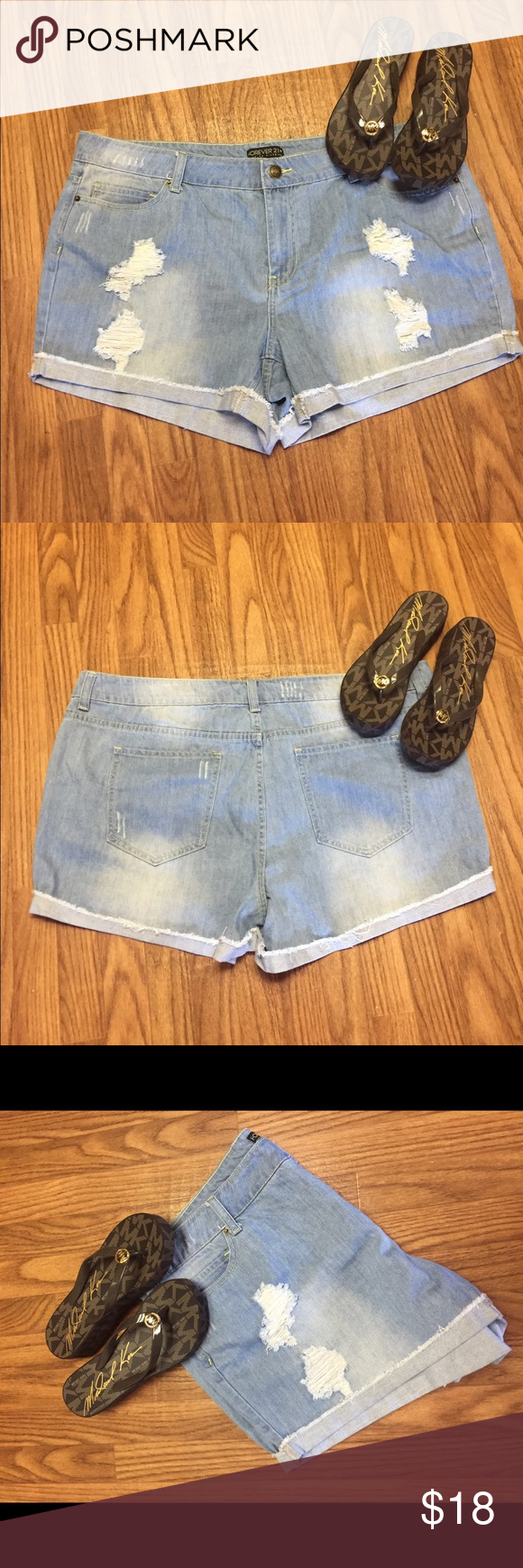 Forever 21 denim shorts Forever 21 denim shorts, preloved in good condition. Forever 21 Shorts Jean Shorts