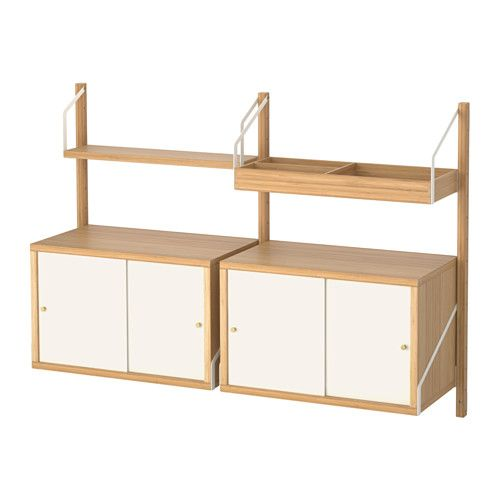 svaln s wall mounted storage combination bamboo white. Black Bedroom Furniture Sets. Home Design Ideas